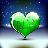 Islamic greetings card for Eid Mubarak. Abstract Shiny green color heart vector illustration for Ed Mubarak greeting card design Stock Photography