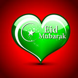 Islamic greetings card for Eid Mubarak. Abstract Shiny green color heart vector illustration for Ed Mubarak greeting card design Stock Image
