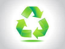Abstract shiny green recycle icon. Illustration royalty free illustration