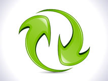 Abstract shiny green refresh icon Stock Photography