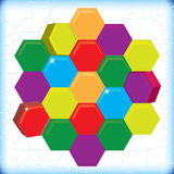 Abstract shiny hexagons on grunge background. Illustration of colorful hexagonal shape Stock Image