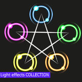 Abstract Shiny Light Circles Illustration of a set of abstract shiny light circles with bright stars on black background Stock Photos