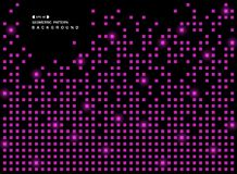 Abstract of shiny purple square geometric pattern on black background. royalty free illustration