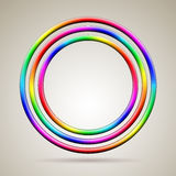 Abstract shiny rainbow colored vector rings. Three abstract shiny rainbow colored vector rings stock illustration