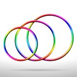 Abstract shiny rainbow colored vector rings. Three abstract shiny rainbow colored vector rings royalty free illustration