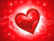 Abstract shiny red heart wallpaper. Vector illustration Stock Photography