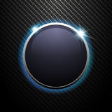 Abstract shiny round banner with metal frame on dark carbon background. Vector illustration Royalty Free Stock Images