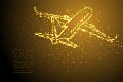 Abstract Shiny Star pattern Airplane shape, transportation concept design gold color illustration. Isolated on brown gradient background with copy space, vector Stock Images