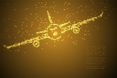Abstract Shiny Star pattern Airplane shape, transportation concept design gold color illustration. Isolated on brown gradient background with copy space, vector stock illustration