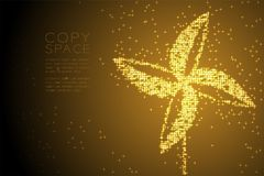 Abstract Shiny Star pattern Paper Wind Turbine shape, ecology clean power concept design Gold color illustration. Isolated on brown gradient background with stock illustration