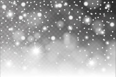 Abstract shiny white snow, sparkles and flares effect pattern isolated on transparent background Stock Photography