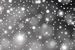 Abstract shiny white snow, sparkles and flares effect pattern isolated on transparent background Royalty Free Stock Image
