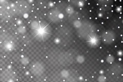 Abstract shiny white snow, sparkles and flares effect pattern isolated on transparent background Stock Image