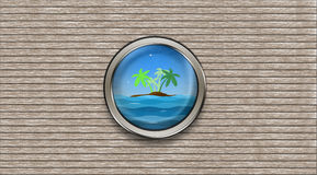 Abstract ship porthole overlooking the palm-tree island and the vector illustration
