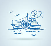 Abstract ship, stylization, vector Stock Images