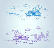 Abstract ship, stylization, vector Stock Image