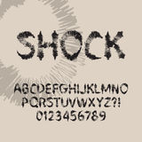 Abstract Shock Font and Numbers. Eps 10 Vector Stock Photo