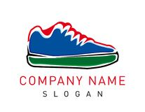 Abstract shoe logo on white background. Abstract blue green and red shoe logo on a white background vector illustration