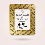 Abstract Shoe Love is True Love golden studded photo frame Stock Images