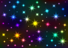 Abstract the shone star sky. Multi-coloured abstract stars on a black background Stock Photo