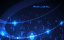 Abstract shooting target audience template, digital technology futuristic concept. Abstract shooting target audience template. Aim, Curve and icon on black blue stock illustration