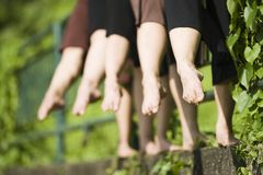 Abstract shot of ballet dancers' feet Stock Image