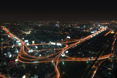 Abstract Shot of Bangkok's Traffic and City Lights at Night Royalty Free Stock Photos
