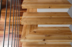 Abstract shot of modern wooden stairs Stock Images
