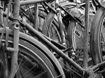 ABSTRACT SHOT OF OLD RUSTY BICYCLE PARTS Royalty Free Stock Images