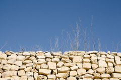 Abstract shot of sticks and grass in dry weather and rubble wall. Typical elements of maltese countryside rural areas. Horizontal landscape orientation Royalty Free Stock Image