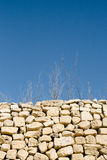 Abstract shot of sticks and grass in dry weather and rubble wall. Typical elements of maltese countryside rural areas. Vertical portrait orientation Stock Photo