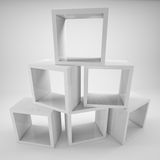 Abstract showcase store of white cubes. Gradient gray background. 3D illustration Stock Photo