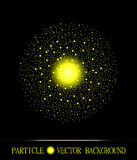 Abstract shpere of  yellow glowing light particles space black background Stock Photo
