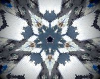 Abstract 5 sided star shape mandala. Small extruded square forming 5 sided star shape. White, blue, brown, black Stock Photo