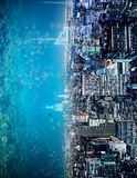 Abstract sideways water city backdrop. Abstract sideways city and water, ocean, sea backdrop with copy space. Creativity, abstraction and innovation concept Stock Photos