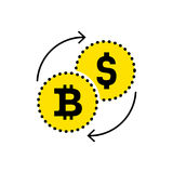 Abstract sign dollar to bitcoin exchange icon. Flat design. Vector illustration isolated white background for website or app and e. Abstract sign dollar to Royalty Free Stock Images