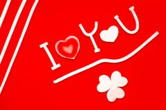 Abstract sign of  I love you on red background. Abstract sign I love you isolated on red background Royalty Free Stock Photography