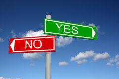 Abstract signpost for answers yes and no Royalty Free Stock Photos