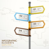 Abstract signpost infographics. Modern 3d vector abstract signpost infographic elements Royalty Free Stock Image