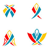 Abstract signs for creating logotypes. Solid fill vector signs for creating logotypes stock illustration