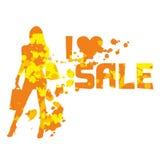 Abstract silhouet van de winkelende dame met tekst I liefde sa Royalty-vrije Stock Foto