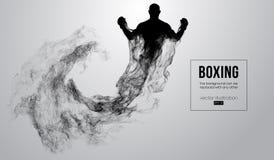Abstract silhouet van een bokser, mma, ufc vechter op de witte achtergrond De bokser is winnaar Vector illustratie stock illustratie