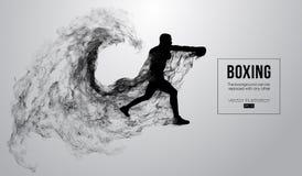 Abstract silhouet van een bokser, mma, ufc vechter op de witte achtergrond De bokser is winnaar Vector illustratie vector illustratie