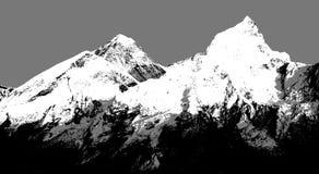 Abstract silhouet van Onderstel Everest van Kala Patthar Stock Afbeeldingen