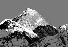 Abstract silhouet van Onderstel Everest van Kala Patthar Royalty-vrije Stock Foto