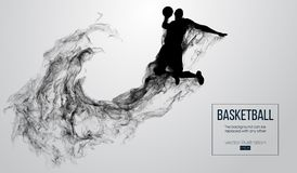 Abstract silhouette of a basketball player on white background. Basketball player jumping and performs slam dunk. royalty free illustration