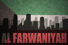 Abstract silhouette of the city with text Al Farwaniyah at the vintage kuwait flag. Background vector illustration