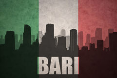 Abstract silhouette of the city with text Bari at the vintage italian flag Royalty Free Stock Photo