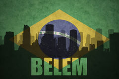 Abstract silhouette of the city with text Belem at the vintage brazilian flag Stock Photography