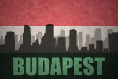 Abstract silhouette of the city with text Budapest at the vintage hungarian flag Royalty Free Stock Photos